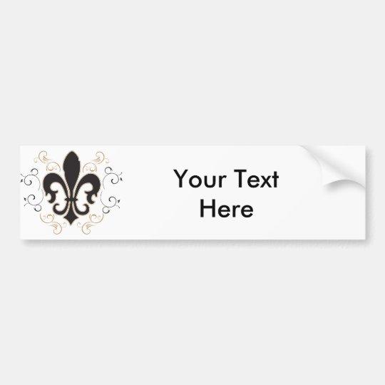 Fleur De Lis: Black and Gold Bumper Sticker