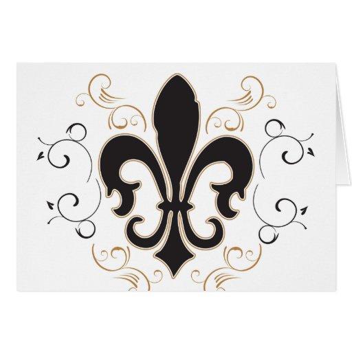 Fleur De Lis: Black and Gold Card