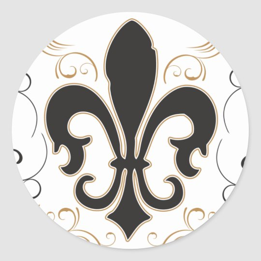 Fleur De Lis: Black and Gold Classic Round Sticker
