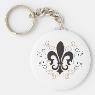 Fleur De Lis Black and Gold Key Chains