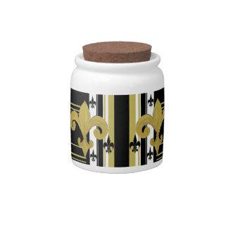 Fleur de lis black and gold Saints candy jar