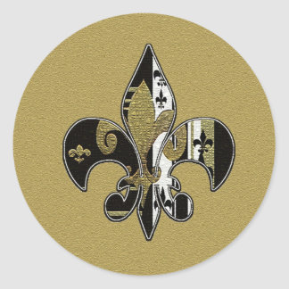 Fleur de lis black and gold stickers round sticker