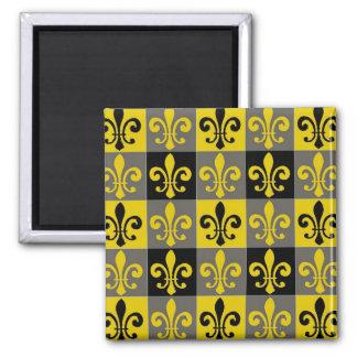 Fleur De Lis Black and Gold Tiles Magnet