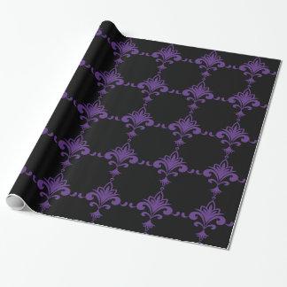 fleur-de-lis Black And Purple Gift Wrap Paper