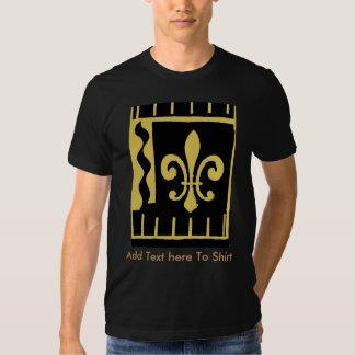 Fleur De Lis Black Gold  Add Your Text Here Tee Shirt
