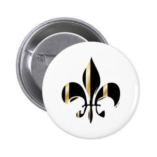 Fleur de Lis/black + gold 2 Inch Round Button