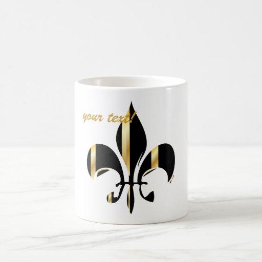 Fleur de Lis/black/gold/DIYfont Coffee Mugs