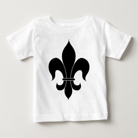 Fleur De Lis - Black - Lined Baby T-Shirt