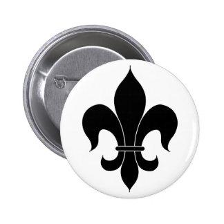 Fleur De Lis - Black - Lined Button