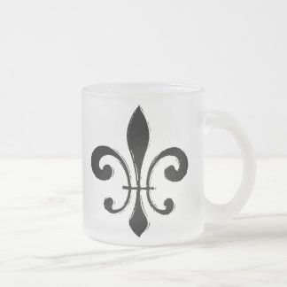 Fleur De Lis, Black Washout Frosted Glass Coffee Mug