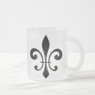 Fleur De Lis, Black Washout 10 Oz Frosted Glass Coffee Mug