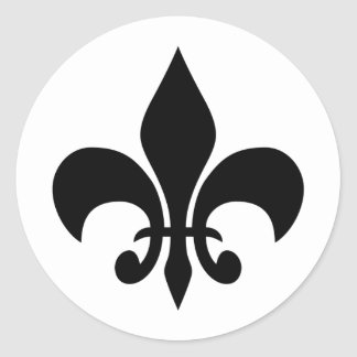 Fleur de lis Black & White Round Sticker