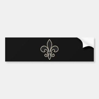 Fleur de Lis Black with White and Gold Bumper Sticker