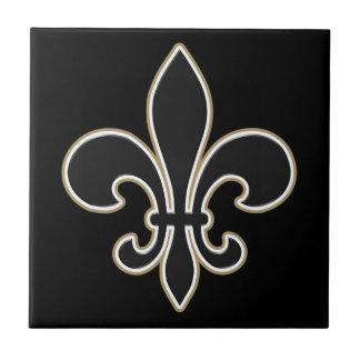 Fleur de Lis Black with White and Gold Tile