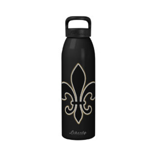 Fleur de Lis Black with White and Gold Drinking Bottles