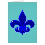 Fleur De Lis blue blue Greeting Cards