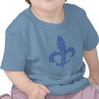 Fleur de lis Blue Gingham infant t-shirt