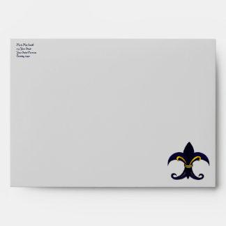 Fleur de lis blue gold envelopes