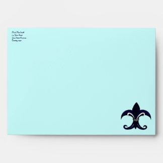 Fleur de lis blue silver envelopes
