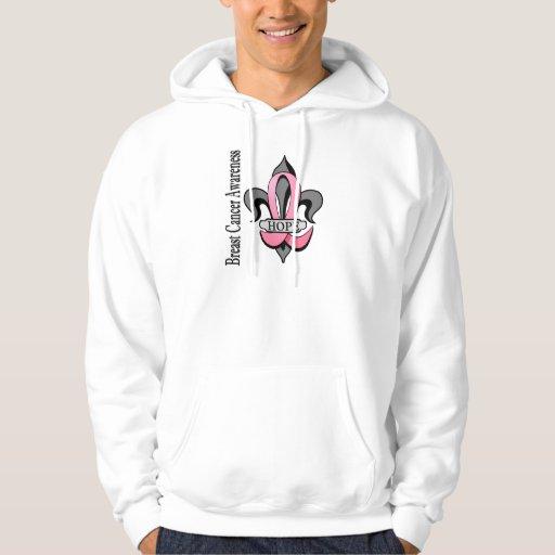 Fleur De Lis Breast Cancer Hope Hooded Pullover