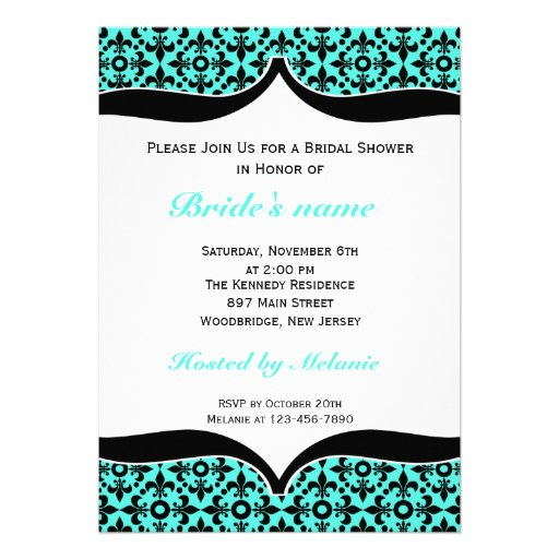 Fleur De Lis Bridal Shower Invitations::Blue