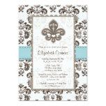 Fleur de Lis Bridal Shower Invitations Blue
