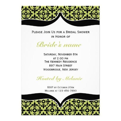 Fleur De Lis Bridal Shower Invitations-Green