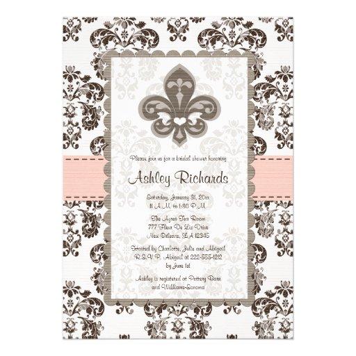 Fleur de Lis Bridal Shower Invitations Pink Brown