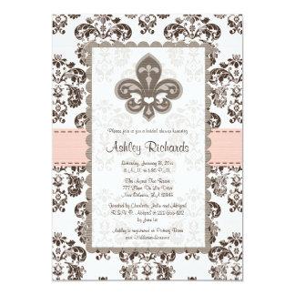 "Fleur de Lis Bridal Shower Invitations Pink Brown 5"" X 7"" Invitation Card"
