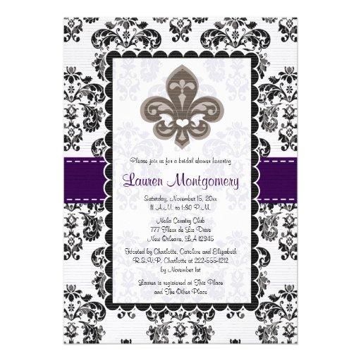 Fleur de Lis Bridal Shower Invitations Plum Black