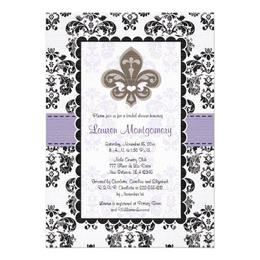 Fleur de Lis Bridal Shower Invitations Purple Gold