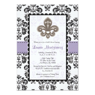 Fleur de Lis Bridal Shower Invitations Purple Gold