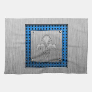 Fleur de lis; Brushed metal-look Hand Towels