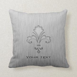 Fleur de lis; Brushed metal-look Throw Pillow