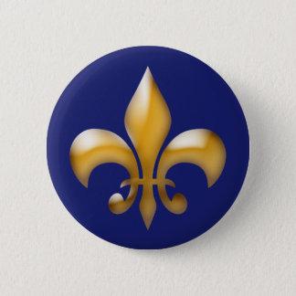 Fleur de Lis Button in Navy and Gold