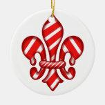 Fleur de lis Candy Cane Christmas Tree Ornament