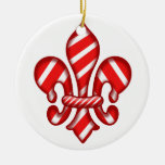 Fleur de lis Candy Cane Double-Sided Ceramic Round Christmas Ornament