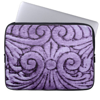 Fleur de Lis Carved Design in Pretty Purple Laptop Sleeve Case