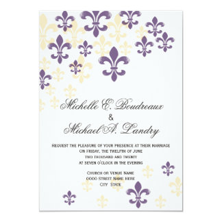 Fleur de Lis Cascade Informal Wedding 1 5x7 Paper Invitation Card