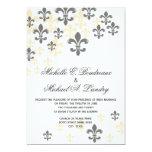 Fleur de Lis Cascade Informal Wedding 5x7 Paper Invitation Card