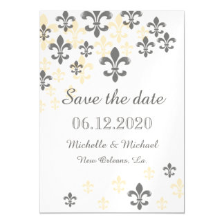 Fleur de Lis Cascade Magnetic Save the Date Black Magnetic Card