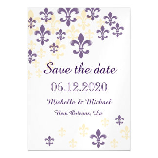 Fleur de Lis Cascade Magnetic Save the Date Magnetic Card