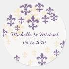 Fleur de Lis Cascade Round Stickers