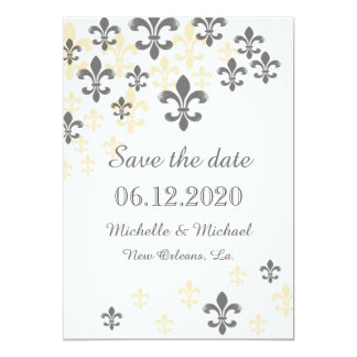 Fleur de Lis Cascade Save the Date Card
