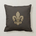 Fleur de Lis Checkered Pattern Pillow