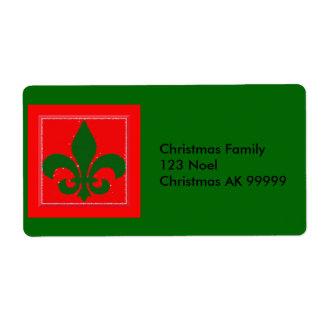 Fleur de Lis Christmas Address Label