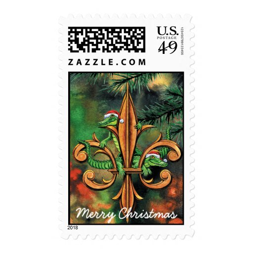 Fleur-de-lis & Christmas Alligators Postage Stamp