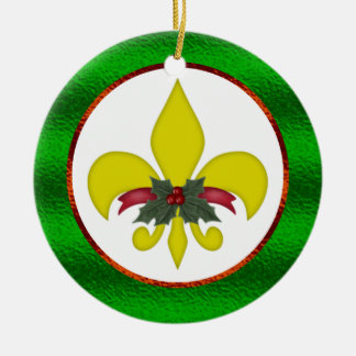 Fleur-de-Lis Christmas Ceramic Ornament