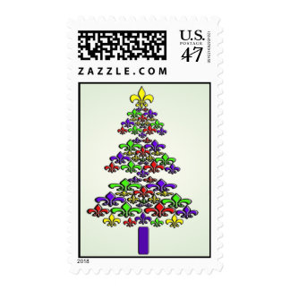 Fleur de Lis Christmas Tree on Green Postage