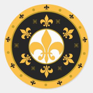 fleur de lis classic round sticker